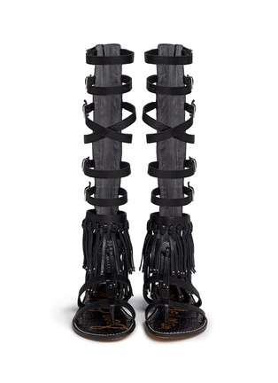 Front View - Click To Enlarge - Sam Edelman - 'Gardenia' fringe trim leather gladiator sandals