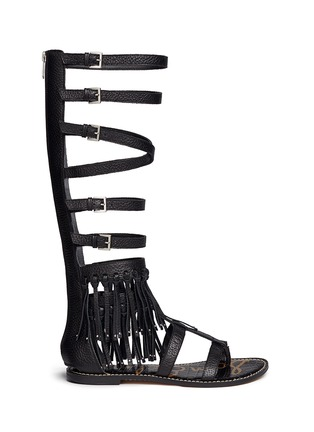 Main View - Click To Enlarge - Sam Edelman - 'Gardenia' fringe trim leather gladiator sandals