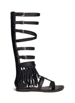 'Gardenia' fringe trim leather gladiator sandals