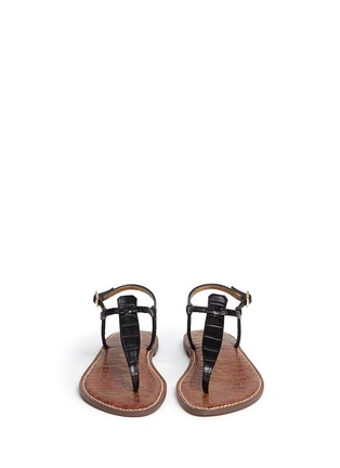 Front View - Click To Enlarge - Sam Edelman - 'Gigi' croc embossed T-strap flat sandals