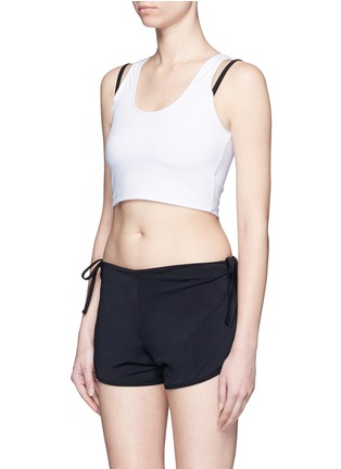 Figure View - Click To Enlarge - Beth Richards - 'Gwen' contrast strap cropped swim tank top