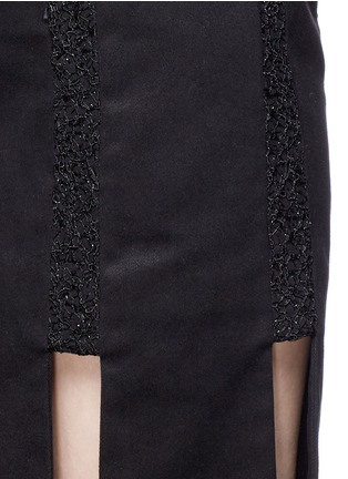 Detail View - Click To Enlarge - Jinnnn - Lace stripe fringe denim skirt