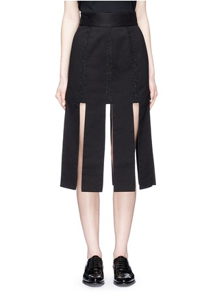 Main View - Click To Enlarge - Jinnnn - Lace stripe fringe denim skirt