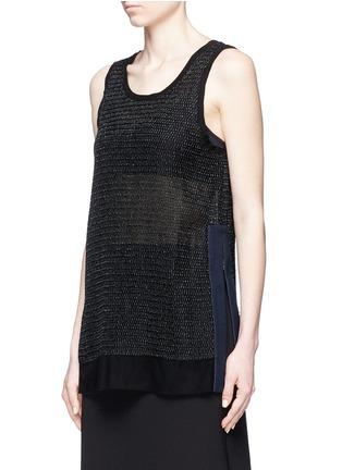 Jinnnn-Denim trim side split mesh top