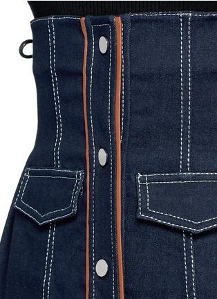 Detail View - Click To Enlarge - Jinnnn - Frayed denim button-up corset belt