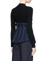 Frayed denim button-up corset belt