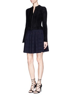 Alaïa 'Pergame' textured Venezia lace insert velvet jacket
