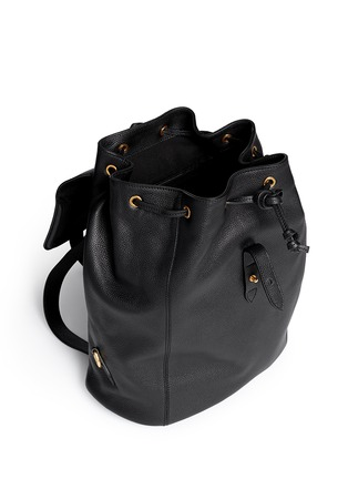 Detail View - Click To Enlarge - Alexander McQueen - 'Padlock' skull leather backpack