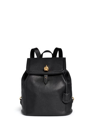 Main View - Click To Enlarge - Alexander McQueen - 'Padlock' skull leather backpack
