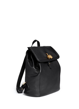 Figure View - Click To Enlarge - Alexander McQueen - 'Padlock' skull leather backpack