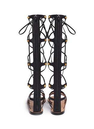 Back View - Click To Enlarge - Valentino - 'Rockstud' knee high leather gladiator sandals