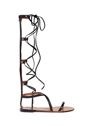 Main View - Click To Enlarge - Valentino - 'Rockstud' knee high leather gladiator sandals