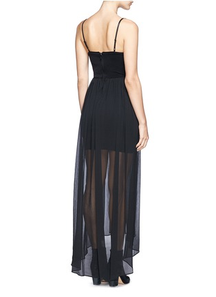 Back View - Click To Enlarge - alice + olivia - Leather spaghetti strap high-low maxi dress