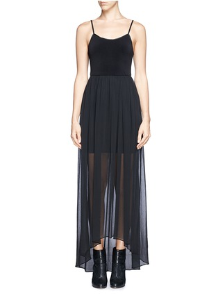 Main View - Click To Enlarge - alice + olivia - Leather spaghetti strap high-low maxi dress