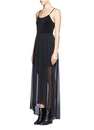 Figure View - Click To Enlarge - alice + olivia - Leather spaghetti strap high-low maxi dress