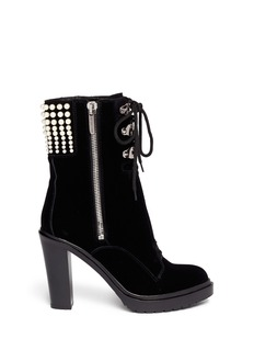 SERGIO ROSSI Resin pearl velvet lace-up boots