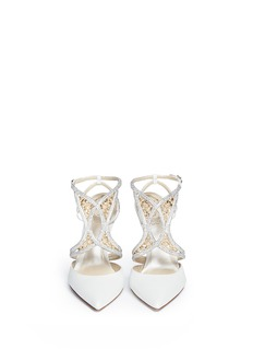 RENÉ CAOVILLA Leaf crystal paillette satin strap pumps