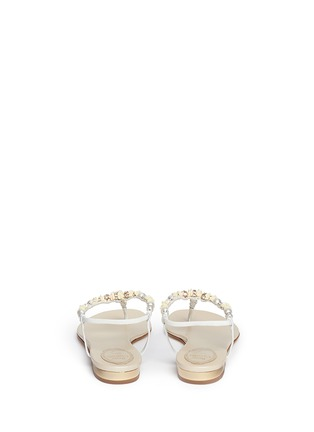 Back View - Click To Enlarge - René Caovilla - Rose bead crystal T-strap flat sandals