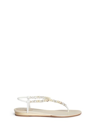 Main View - Click To Enlarge - René Caovilla - Rose bead crystal T-strap flat sandals