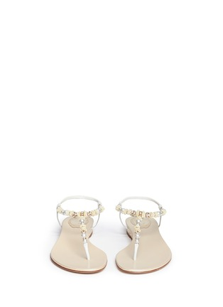Figure View - Click To Enlarge - René Caovilla - Rose bead crystal T-strap flat sandals