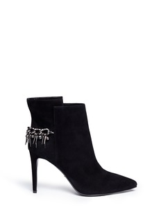 SERGIO ROSSI Suede spike chain ankle boots