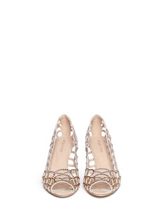SERGIO ROSSI 'Mermaid' crystal cut-out pumps