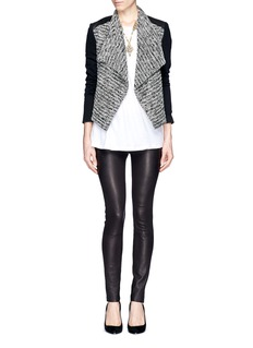 ALICE + OLIVIA 'Burma' leather panel tweed jacket