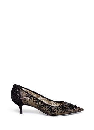 Main View - Click To Enlarge - René Caovilla - Mesh crystal embellished heels