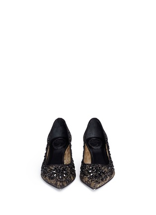 Figure View - Click To Enlarge - René Caovilla - Mesh crystal embellished heels