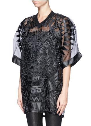 Front View - Click To Enlarge - KTZ - Oversized faux leather patchwork organdy T-shirt