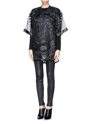 Figure View - Click To Enlarge - KTZ - Oversized faux leather patchwork organdy T-shirt