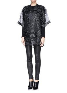 KTZOversized faux leather patchwork organdy T-shirt