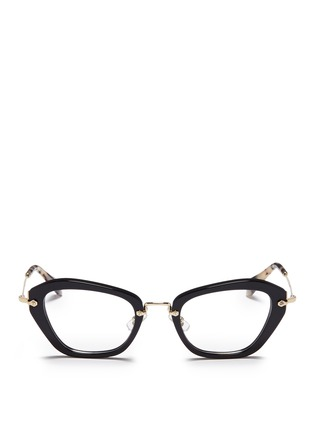 Main View - Click To Enlarge - miu miu - 'Noir' tortoiseshell tip optical glasses