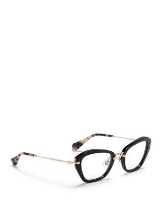 Figure View - Click To Enlarge - miu miu - 'Noir' tortoiseshell tip optical glasses