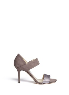 JIMMY CHOO 'Tallow' glitter strap suede sandals