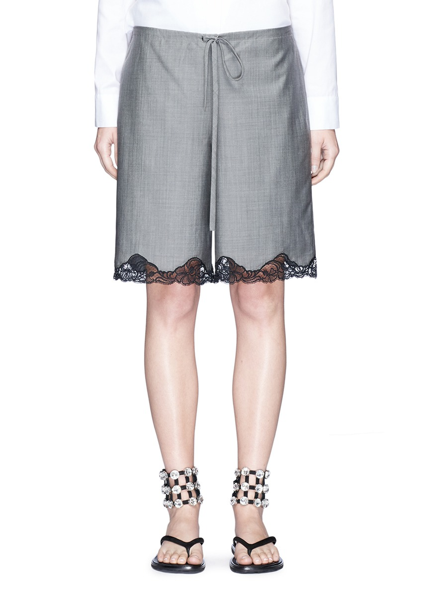 Bloomer floral lace hem wool-mohair shorts by Alexander Wang