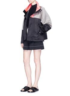Alexander Wang Oversized colourblock satin hooded windbreaker