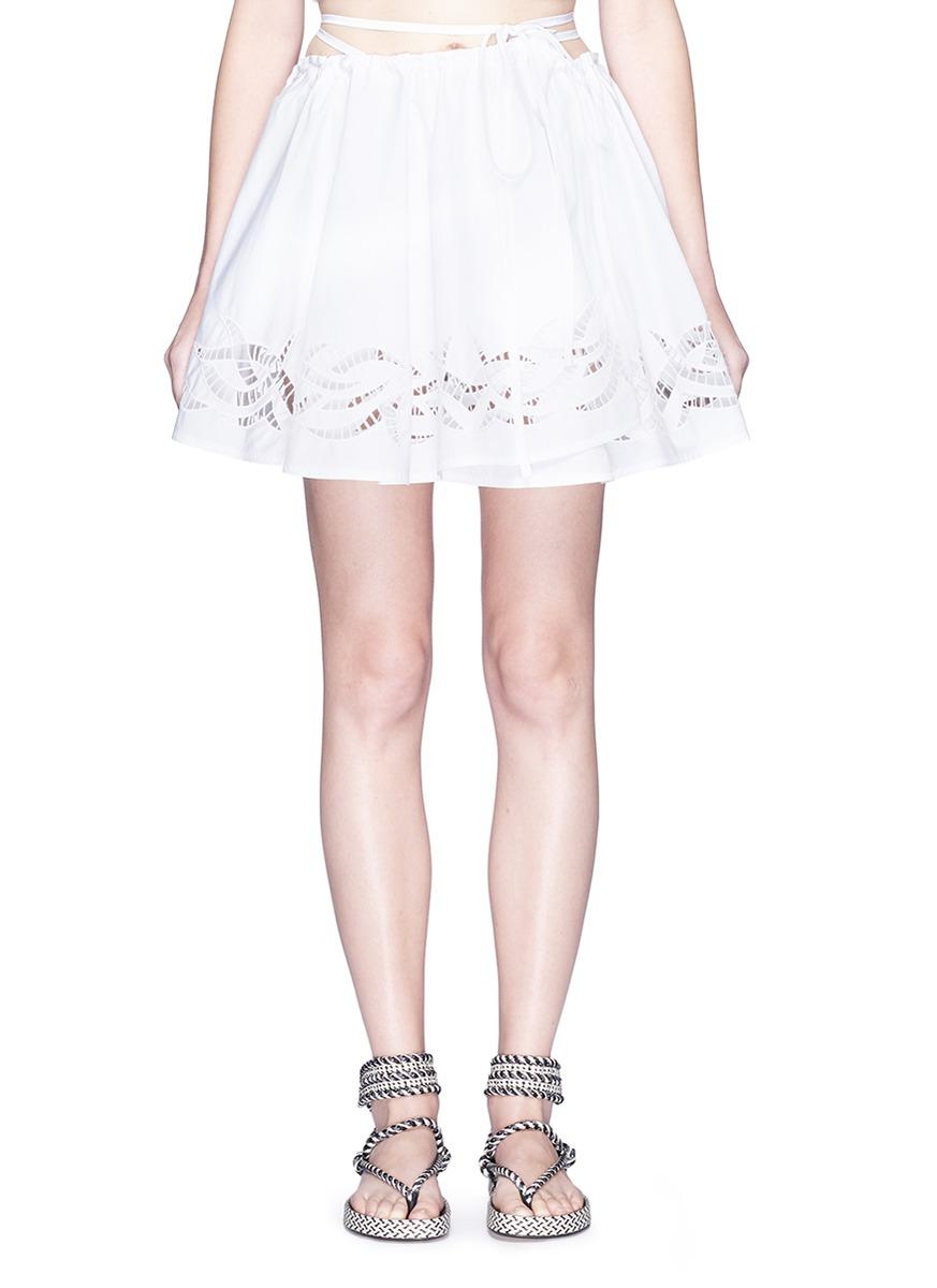 Cutout skirt overlay cotton poplin shorts by Alexander Wang