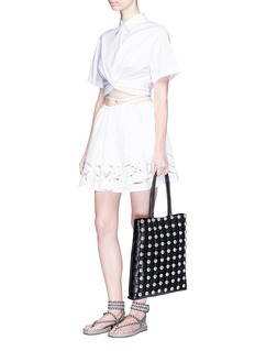 Alexander Wang  Cutout skirt overlay cotton poplin shorts