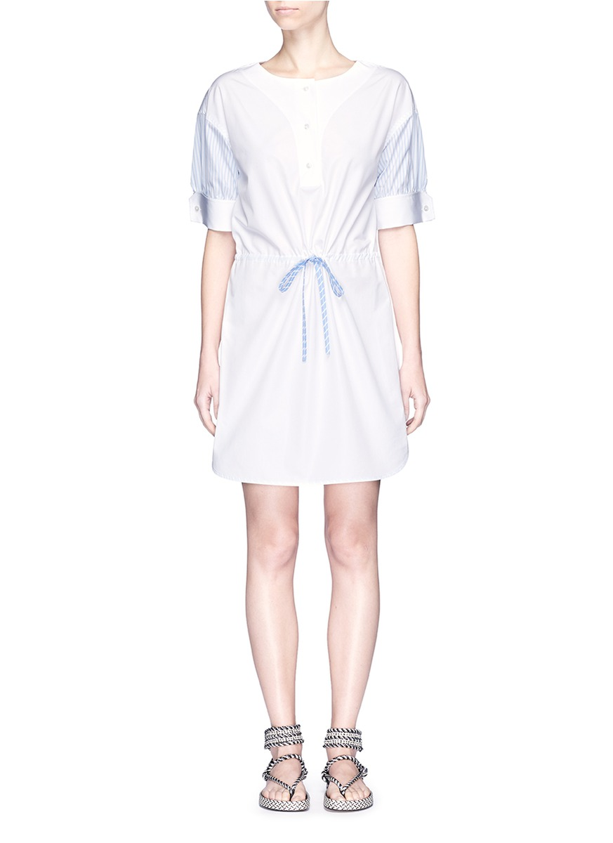 Buy Drawcord waist pinstripe sleeve shirt dress by Alexander Wang womens clothes online