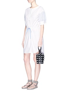 Alexander Wang  Drawcord waist pinstripe sleeve shirt dress