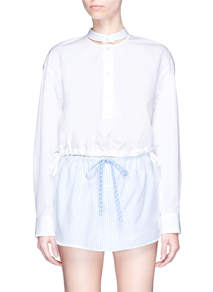 Deconstructed collar cropped shirt by Alexander Wang