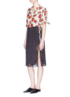 Alexander Wang Rose print tie sleeve cropped satin shirt