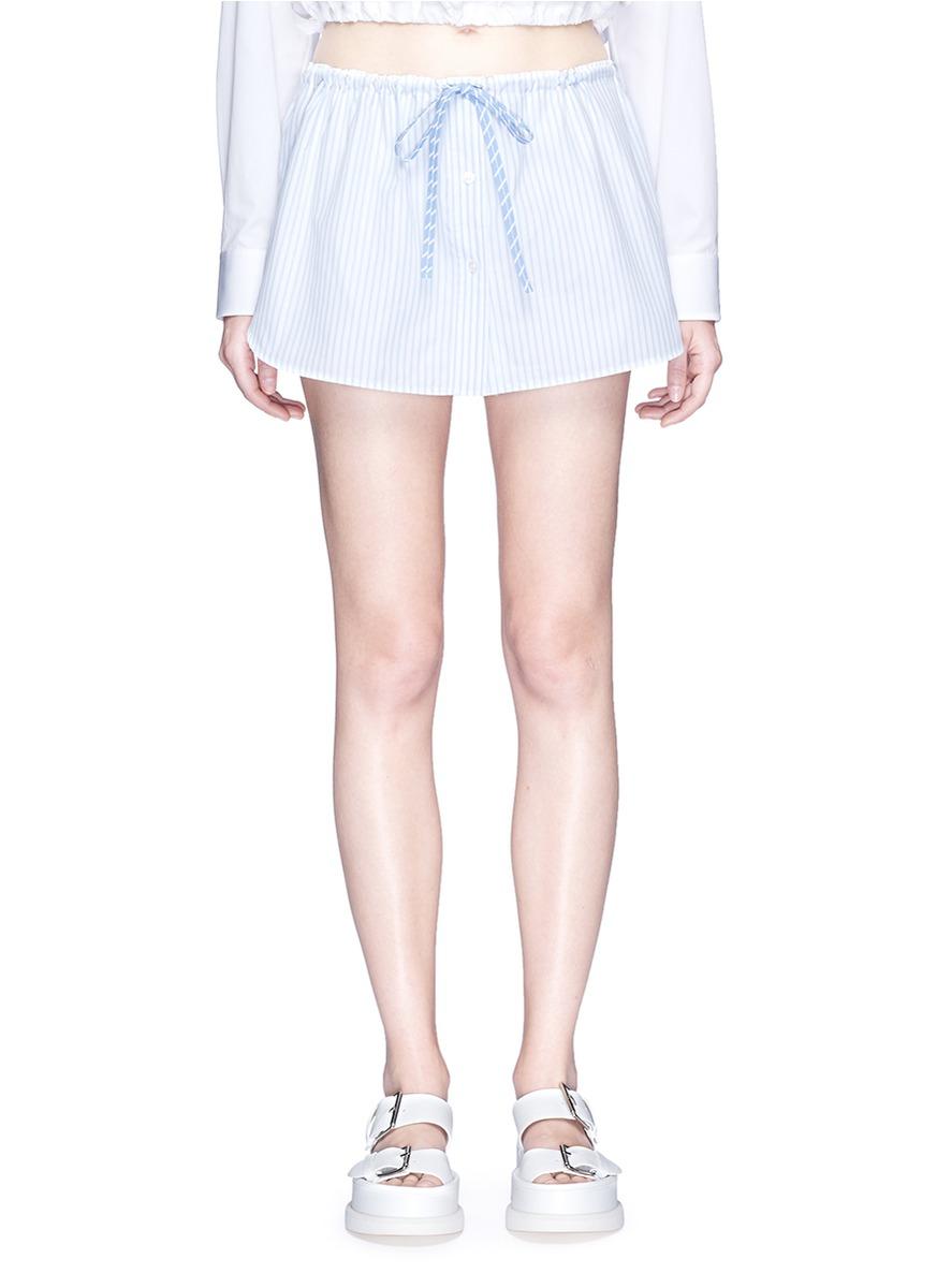 Pinstripe petal skirt overlay cotton shorts by Alexander Wang