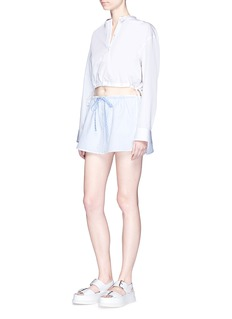 Alexander Wang  Pinstripe petal skirt overlay cotton shorts