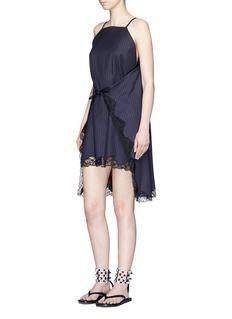 Alexander Wang Lace trim tie front stripe wool dress