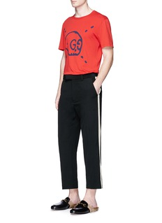 Gucci Contrast outseam wrinkled wool pants