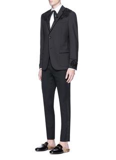 Gucci Floral embellished appliqué twill blazer