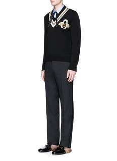 Gucci Velvet trim cavalry twill pants