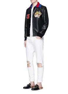 Gucci Tiger appliqué lambskin leather bomber jacket